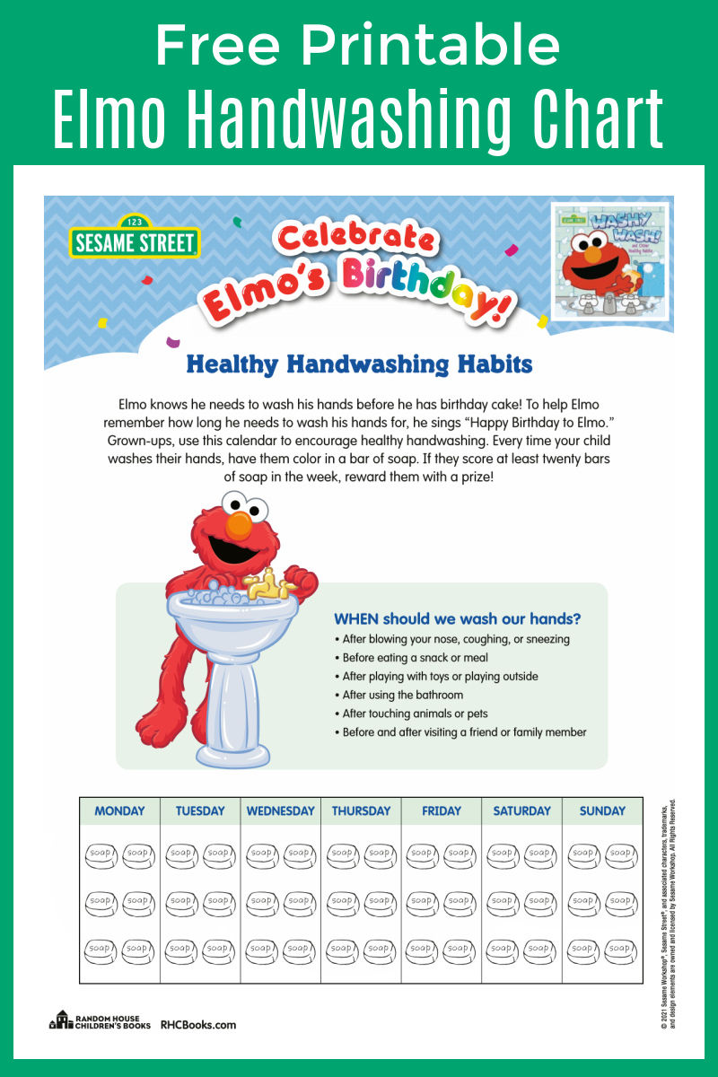 Download my free printable Elmo hand washing chart, so that you can encourage your kids to be safe and healthy.