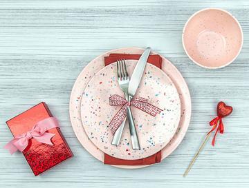 pink confetti zak designs dinnerware