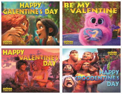 four printable croods valentines day cards.