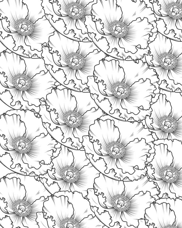 Adults or kids can make a beautiful super bloom picture, when you download this free printable poppy coloring page.