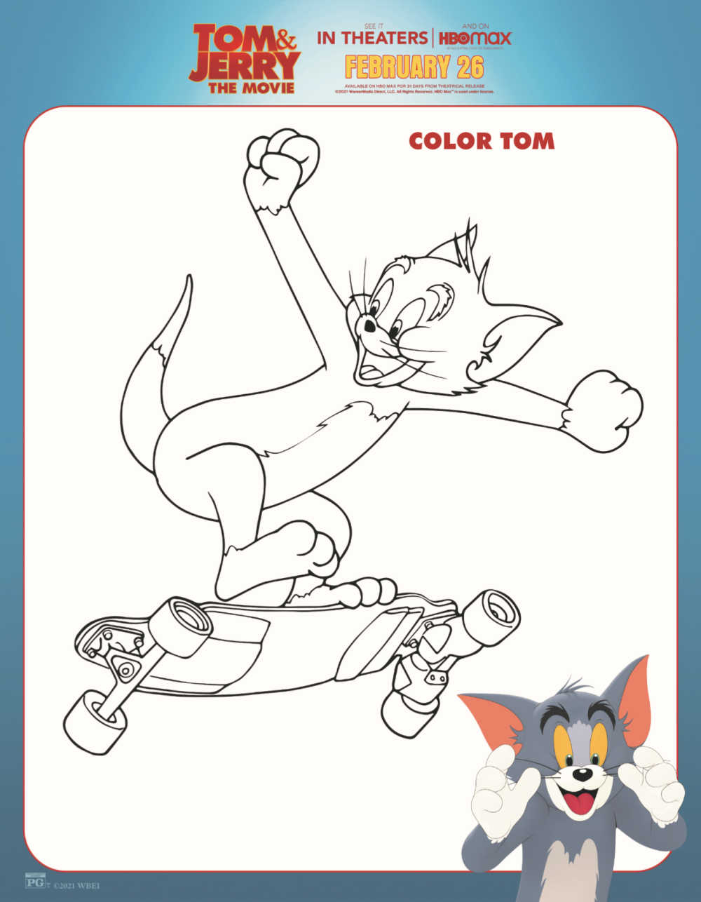 sponsored: Kids who love cartoons and skateboarding will love it, when you download this free printable Tom and Jerry coloring page.