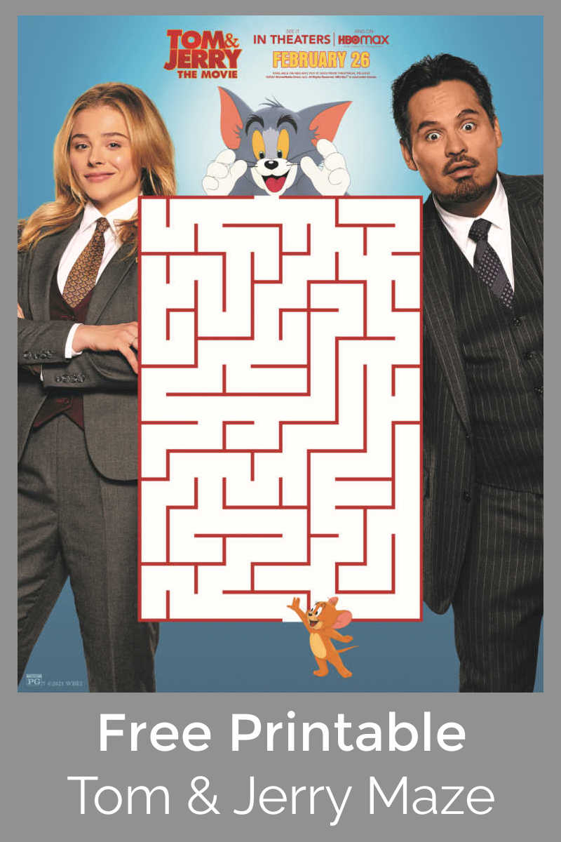 sponsored: Kids can have a fun challenge, when you download this free printable Tom and Jerry maze from the new Warner Brothers movie.