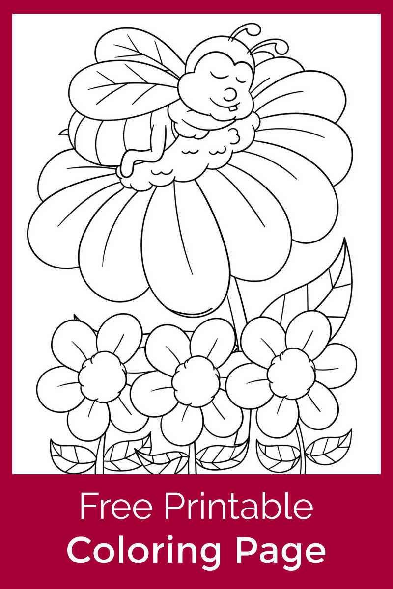 It is hard work for bees to make honey, but this adorable bee napping on a flower coloring page is fun to color.