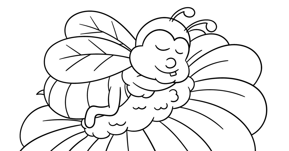 close up honey bee on a flower coloring page.