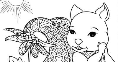 Squirrel and Flower Pot Coloring Page.