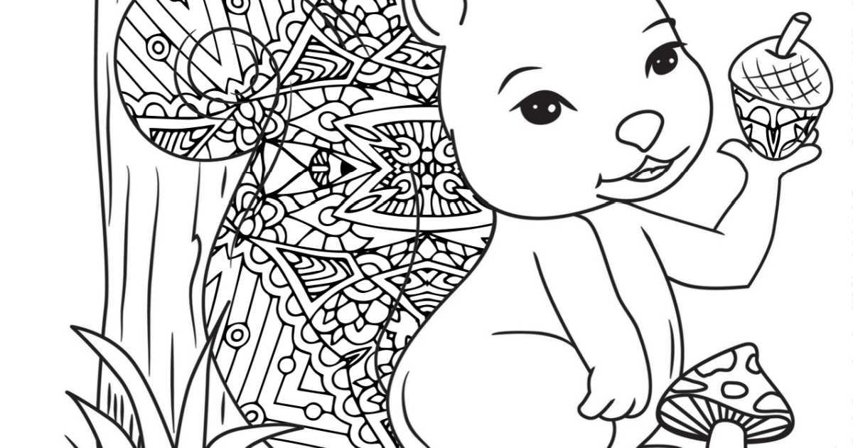 squirrel mushroom coloring page.