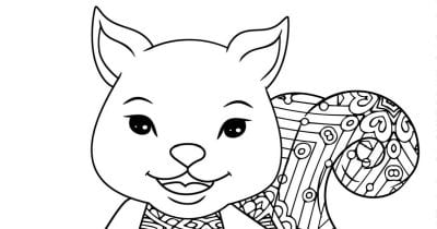 smiling squirrel adult coloring page.