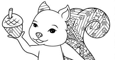 squirrel acorn coloring page.