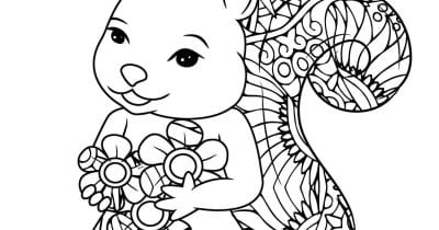 squirrel with flowers coloring page.