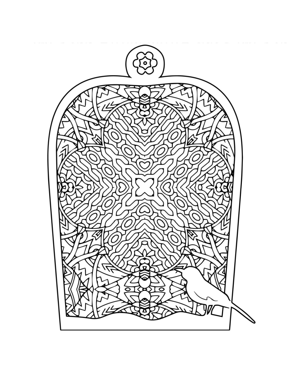 free printable bird cage adult coloring page.