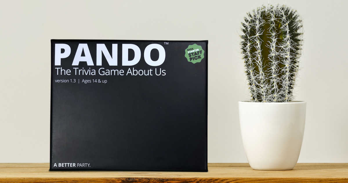 card game - pando on shelf with a cactus in a pot.