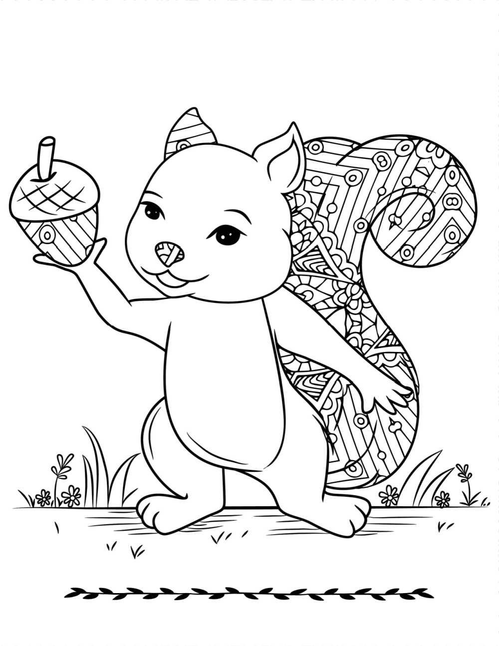 printable squirrel acorn coloring page.