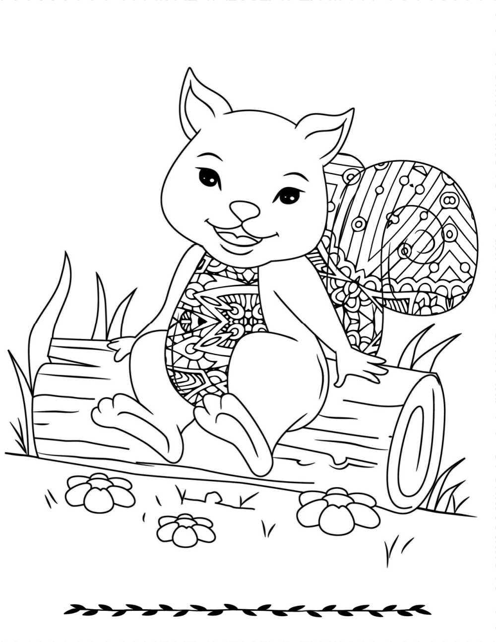 When you want to color a cute an uplifting picture, download this free printable squirrel on a log coloring page.