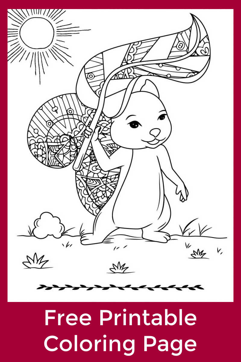 It is always so nice to soak up the sun, so you will love this free printable squirrel in the sunshine coloring page.