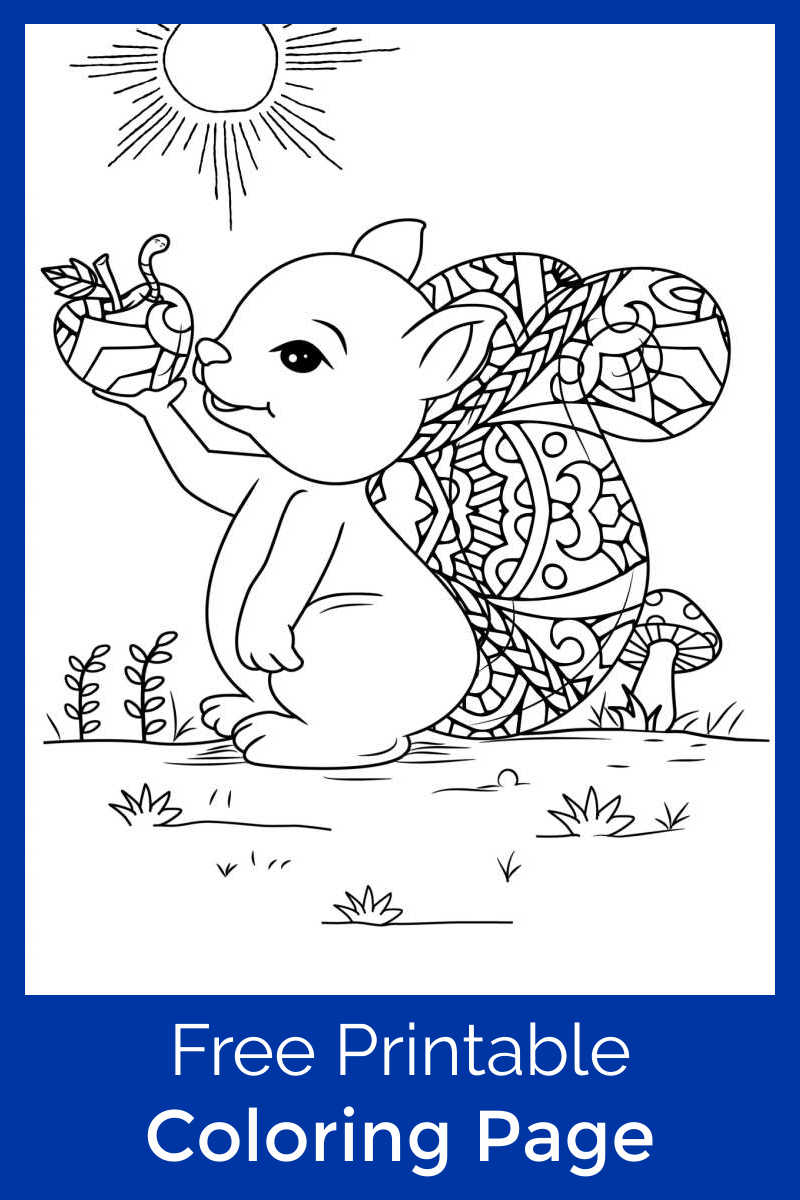This sweet squirrel with an apple coloring page will be beautiful, when you or your child colors the free printable.