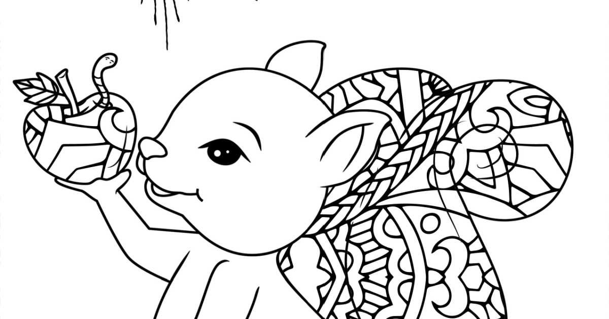 squirrel apple coloring page.