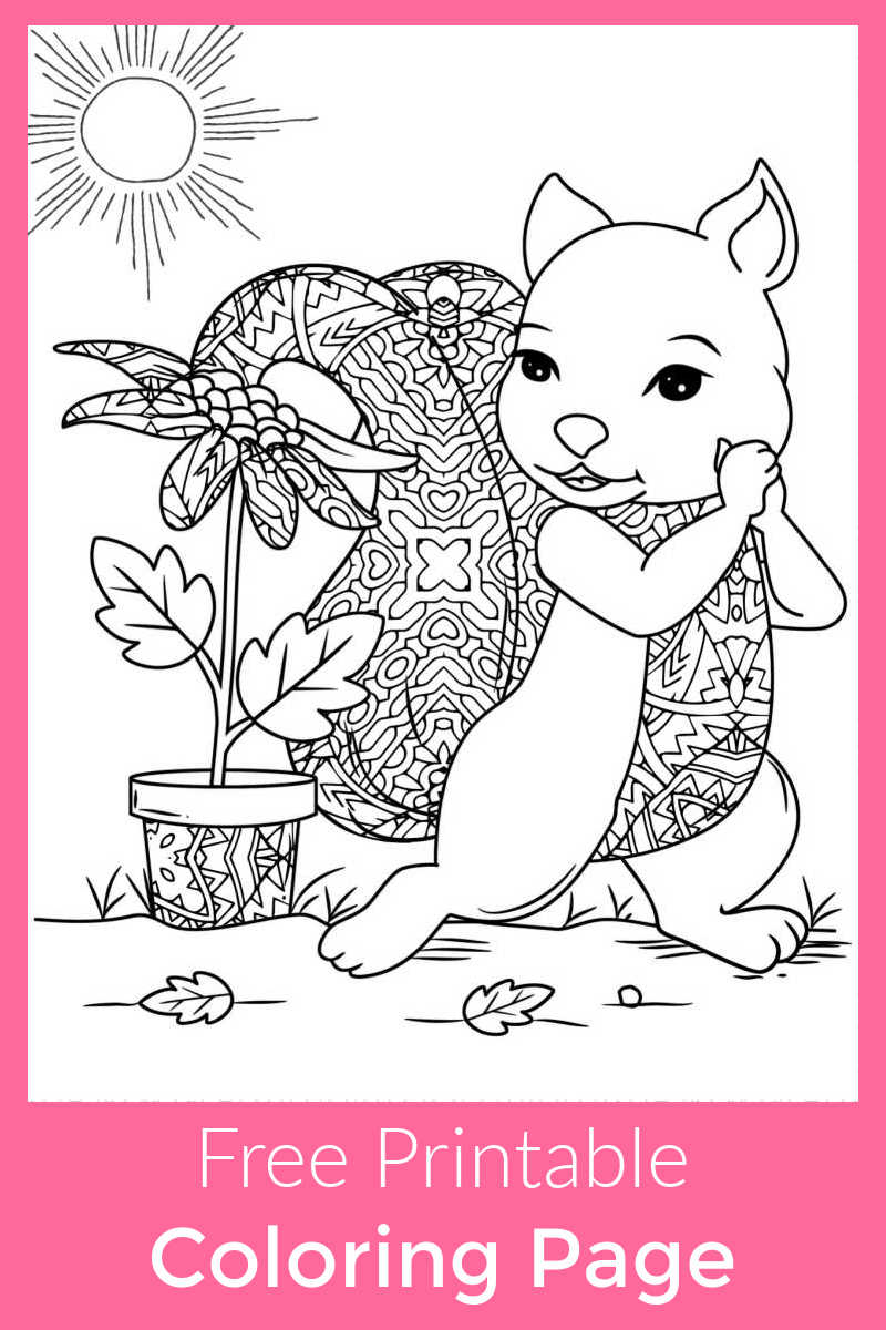 Download this free printable squirrel and flower pot coloring page, so that you can turn this picture into a sweet work of art.
