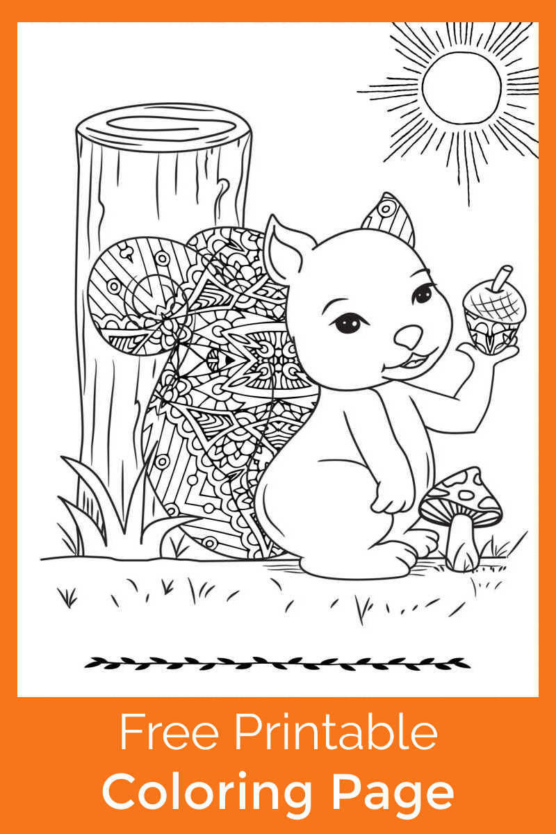 You or your child can color this cute squirrel with mushroom coloring page, when you download the pdf for free.