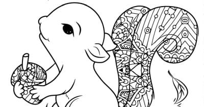 squirrel with a butterfly adult coloring page.