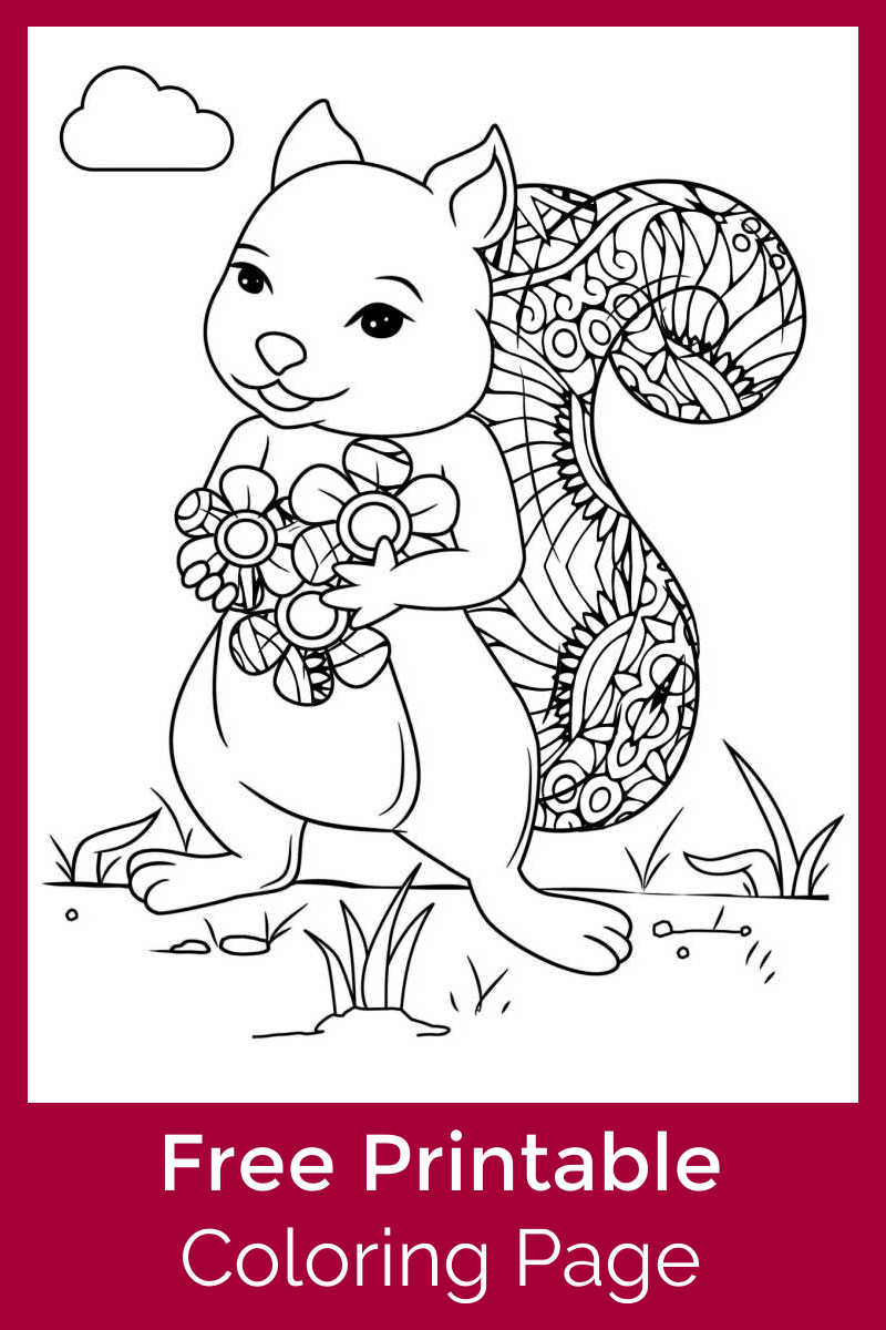 You or your child can color an adorable picture, when you download this free printable squirrel with flowers coloring page.