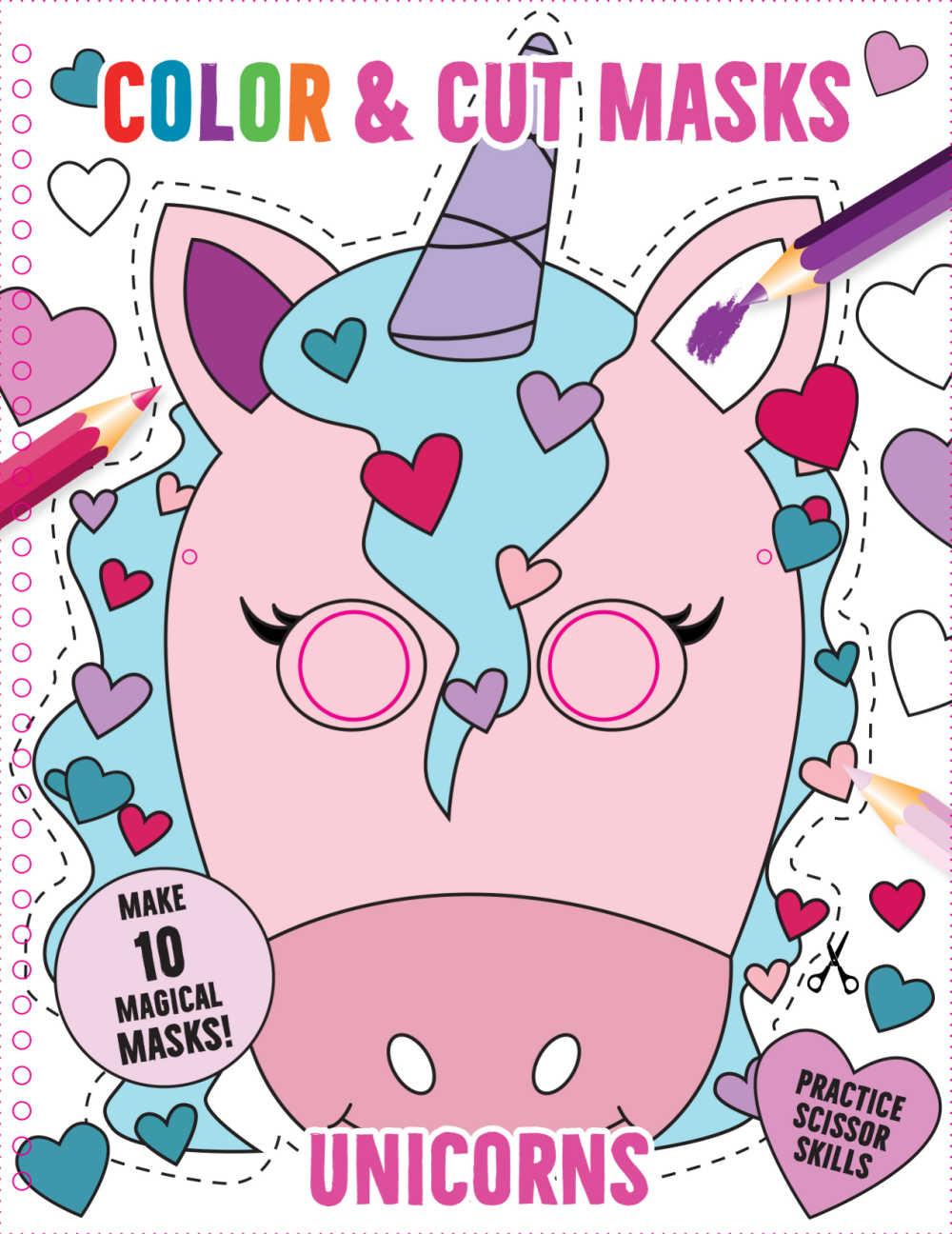 book - cut and color unicorn masks.