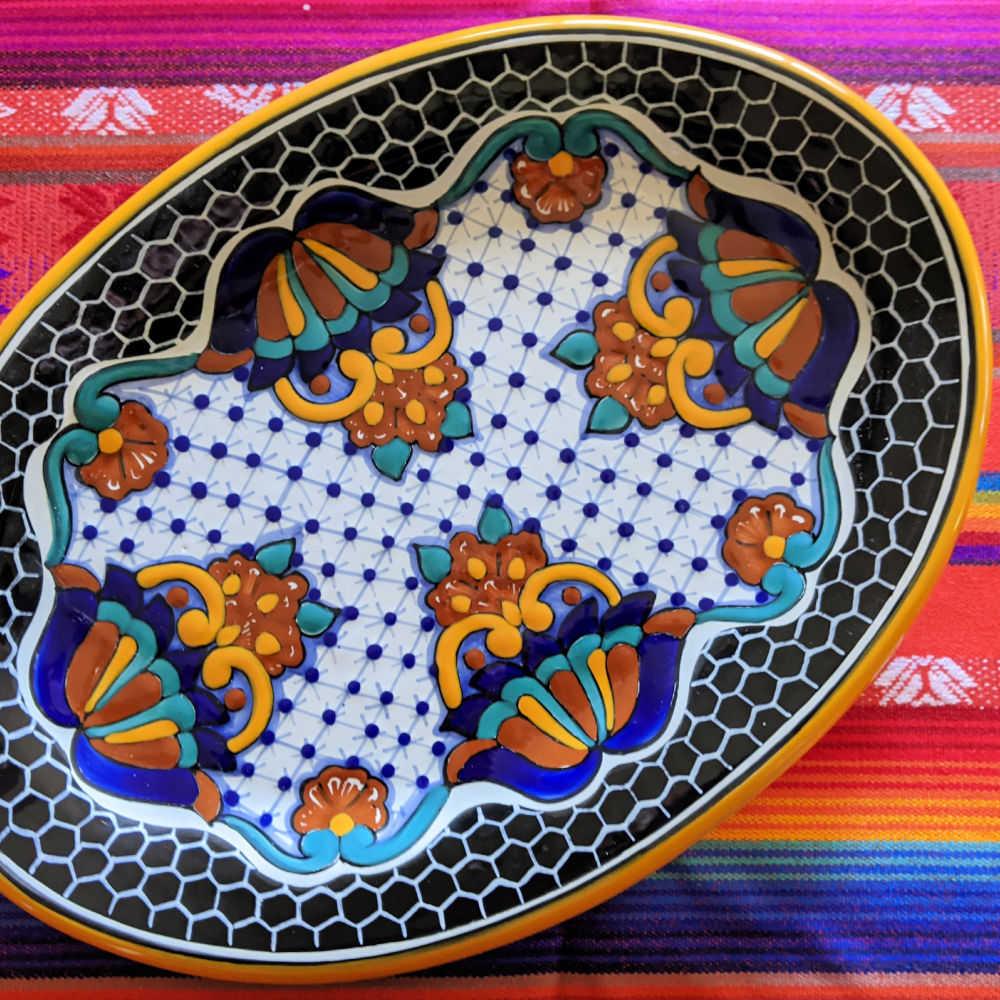Zacatlan Flowers Ceramic Serving Plate