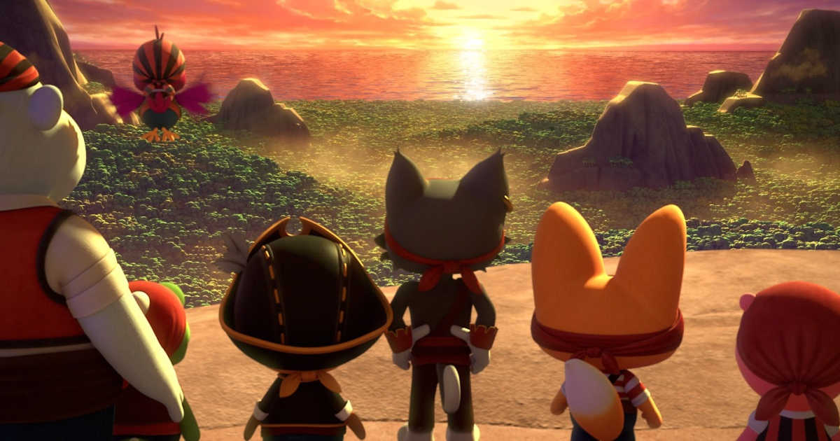 animated cast of pororo movie looking at sunset.