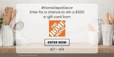 april 2021 home depot giveaway.
