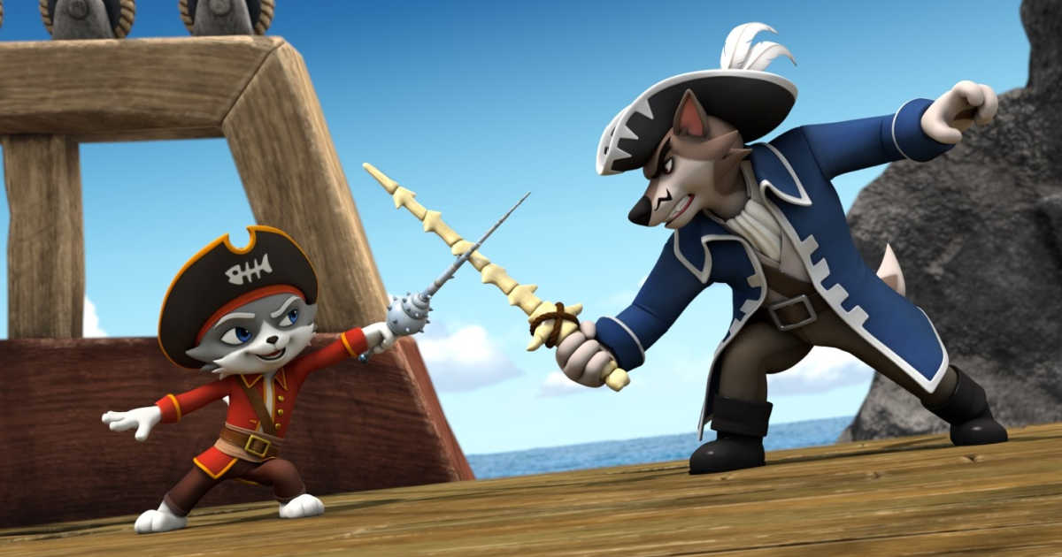 cat and dog pirate sword fight.