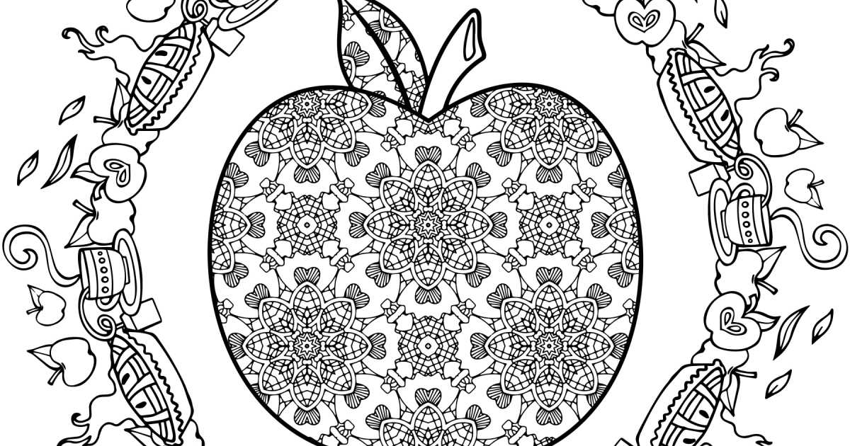 apple adult coloring page