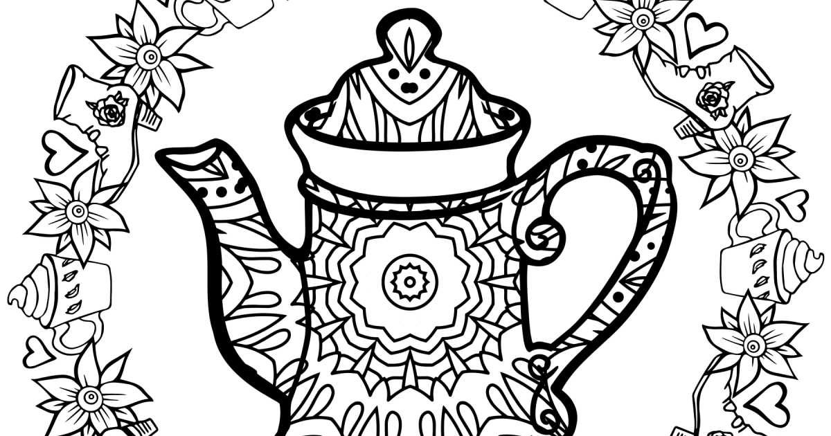 tea kettle coloring page.