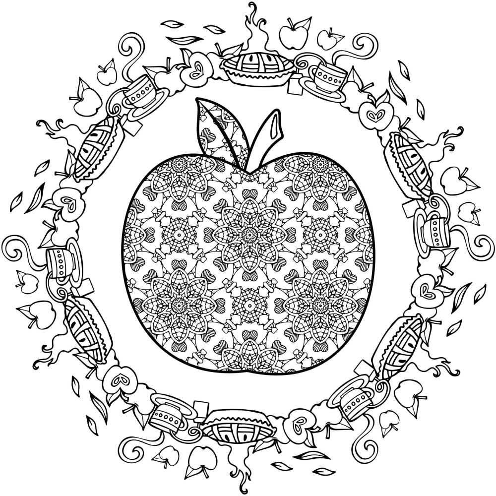 free round apple coloring page.
