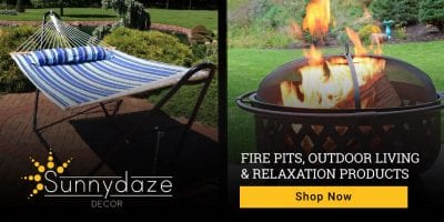 make a backyard oasis with hammocks and fire pits.