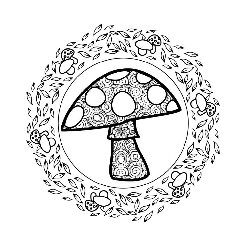 printable magical mushroom coloring page.