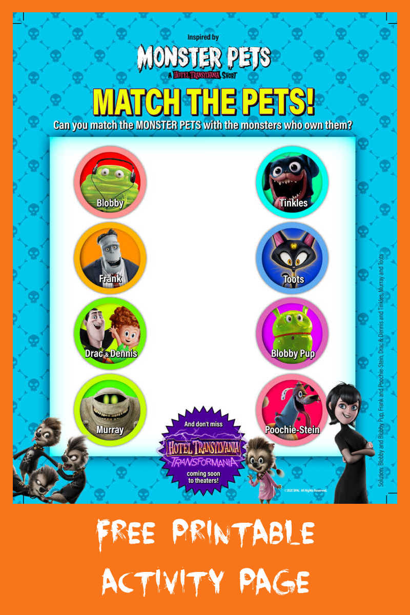 Download this free Monster Pets matching activity, so that your child can try to match the Monster Pets with the monsters who own them.