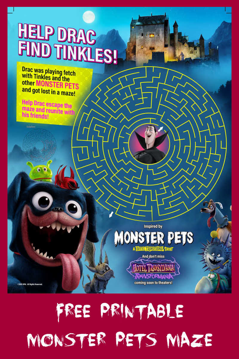 Your child can help Drac find Tinkles, when you download this fun and free Hotel Transylvania Monster Pets maze.