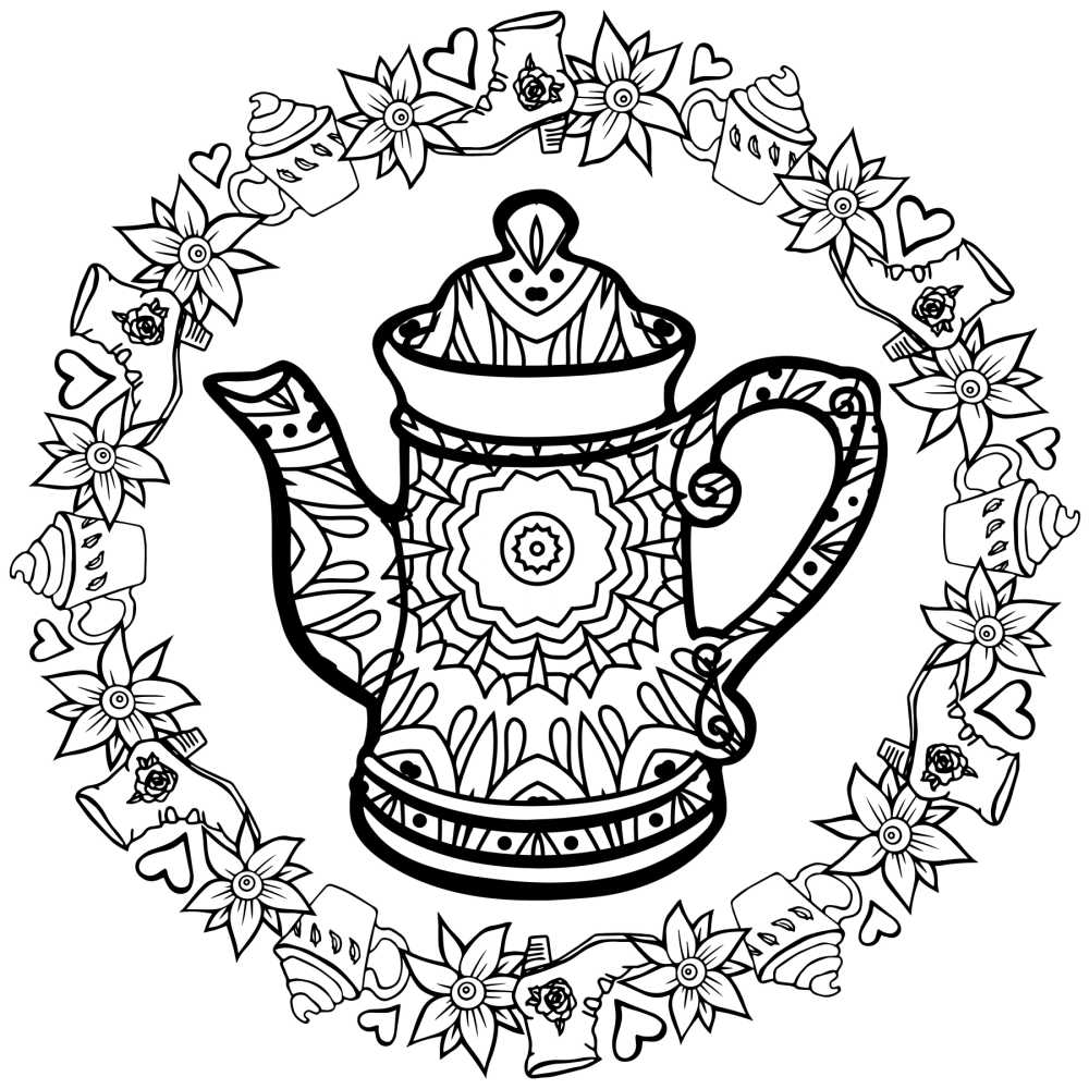 printable tea kettle coloring page.