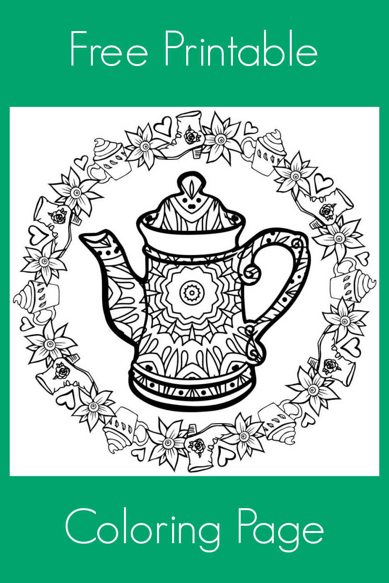 Download this free pdf, so you can relax with a cuppa as you color this free printable tea kettle coloring page.