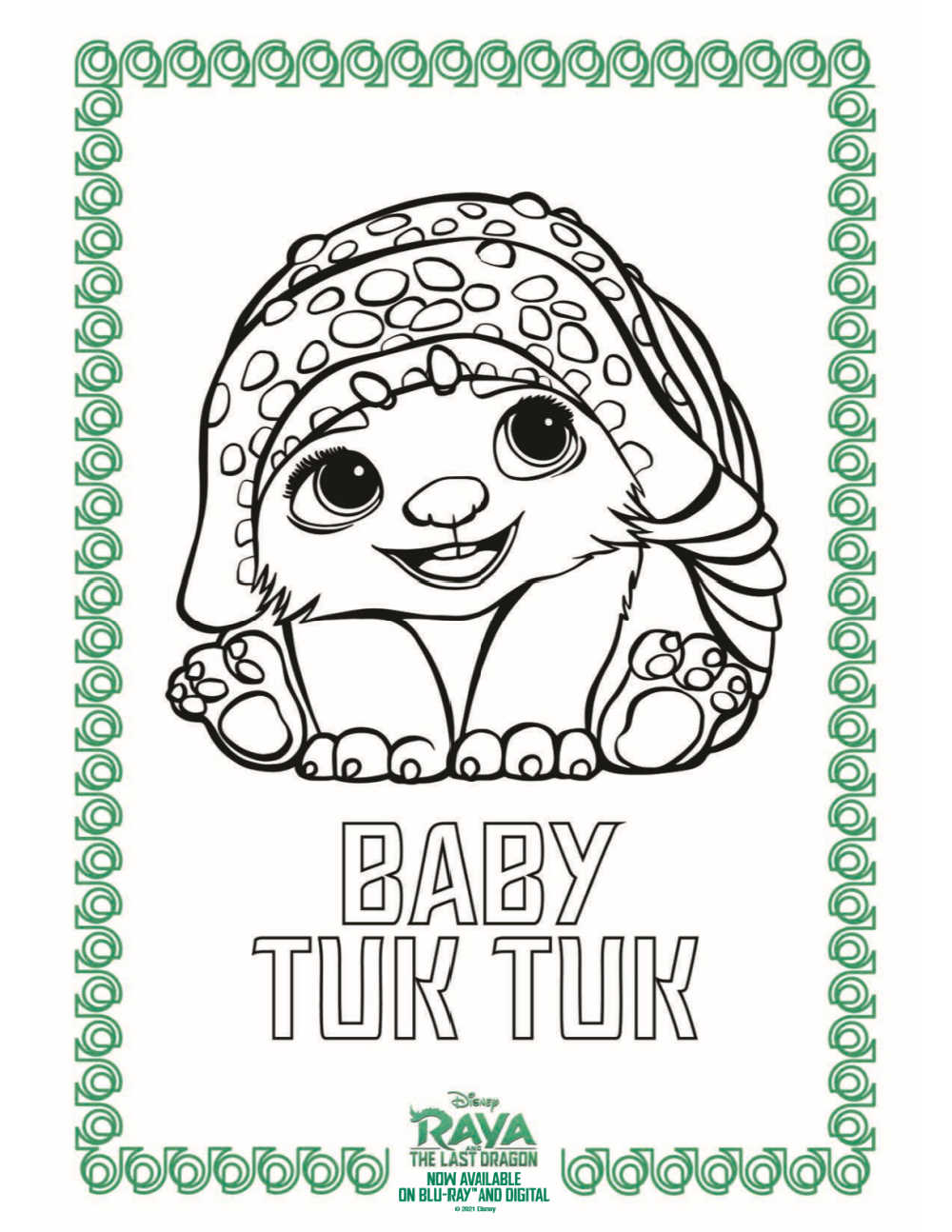 Raya and The Last Dragon fans will love it, when you download this free printable Baby Tuk Tuk coloring page from Disney.