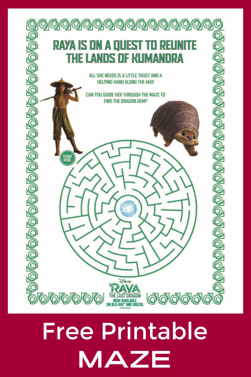 Your kids can have a fun Disney challenge, when you download the free Raya maze to print or use on your computer.