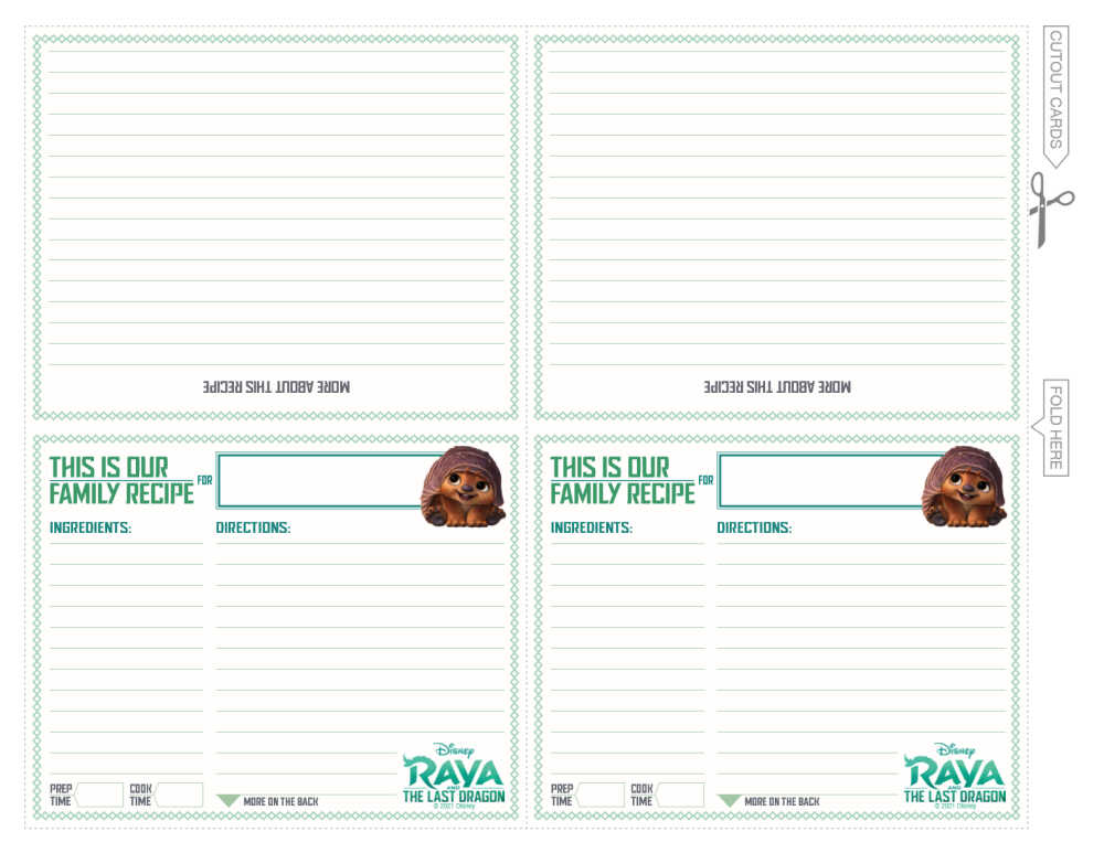 printable raya recipe cards.