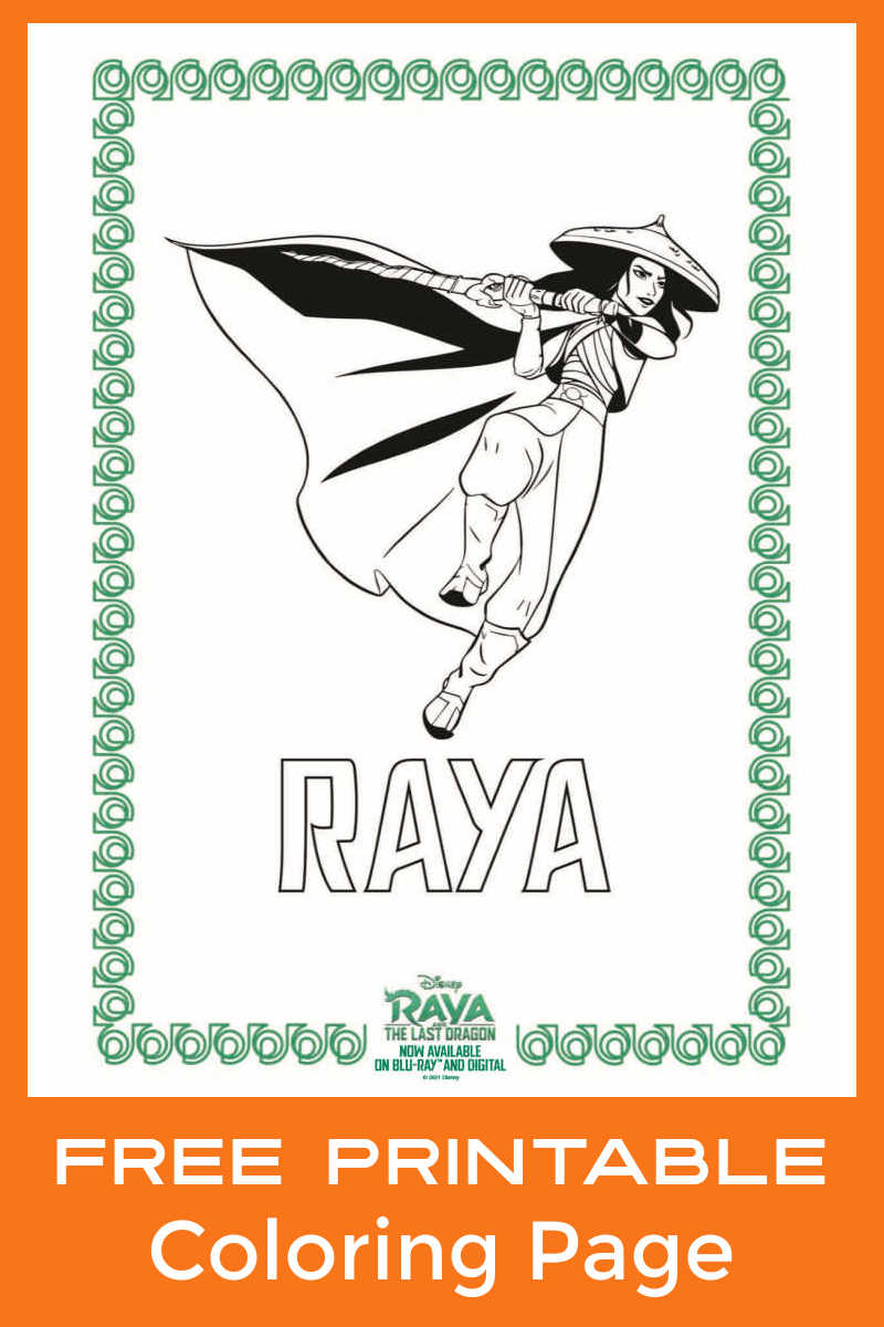 Download this free printable Raya coloring page, so your child can color this picture of Disney's brave star of Raya and The Last Dragon.