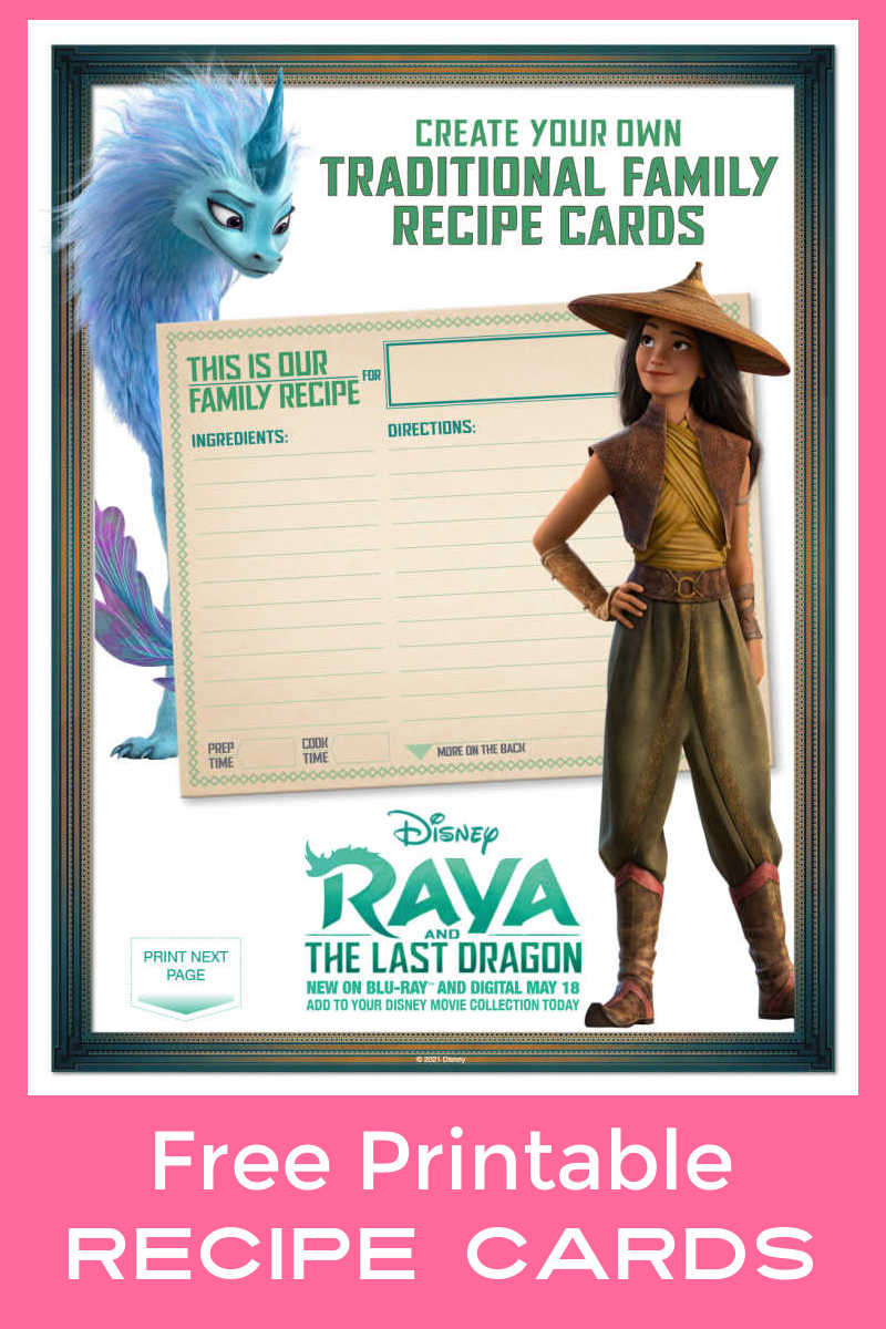 Use these free printable Raya recipe cards from Disney, so you can share favorite family recipes with your loved ones.