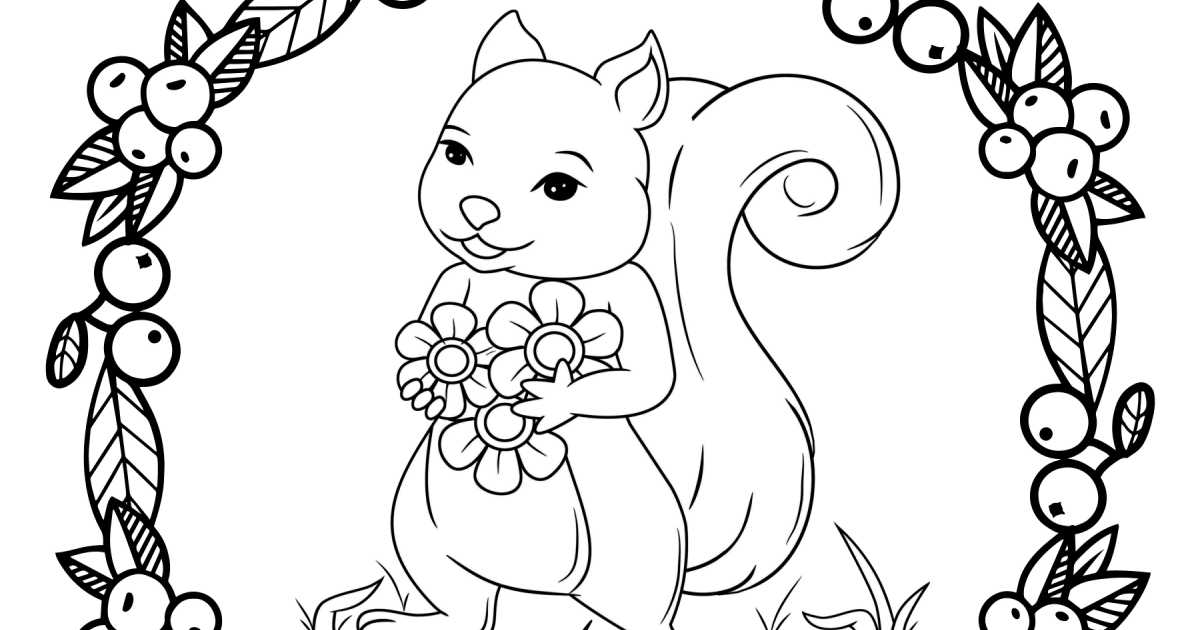 feature Squirrel Holding Flowers Coloring Page