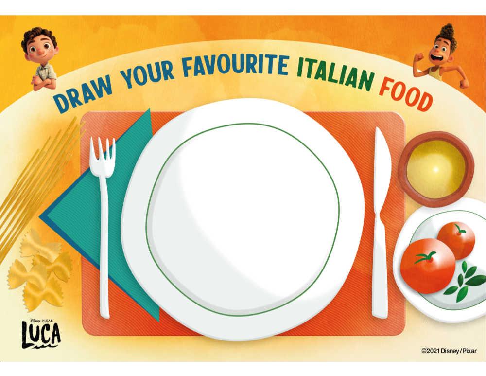 italian food drawing activity