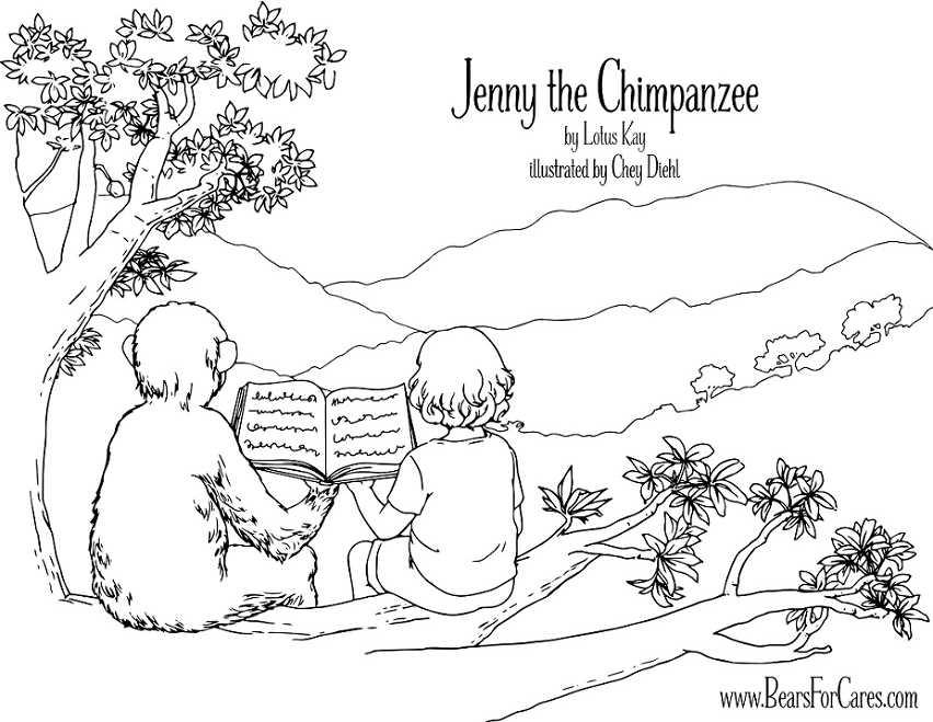 jenny the chimpanzee coloring page.
