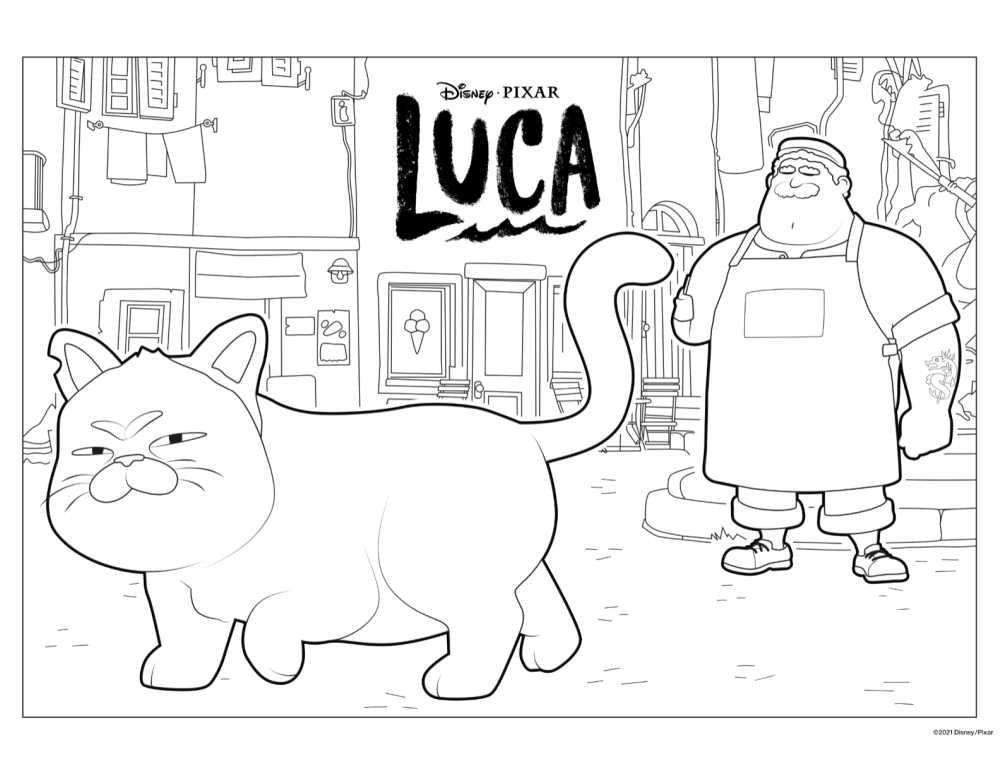 luca cat coloring page