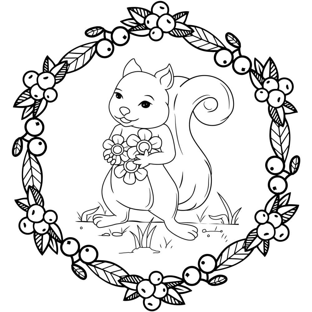 printable squirrel holding flowers coloring page