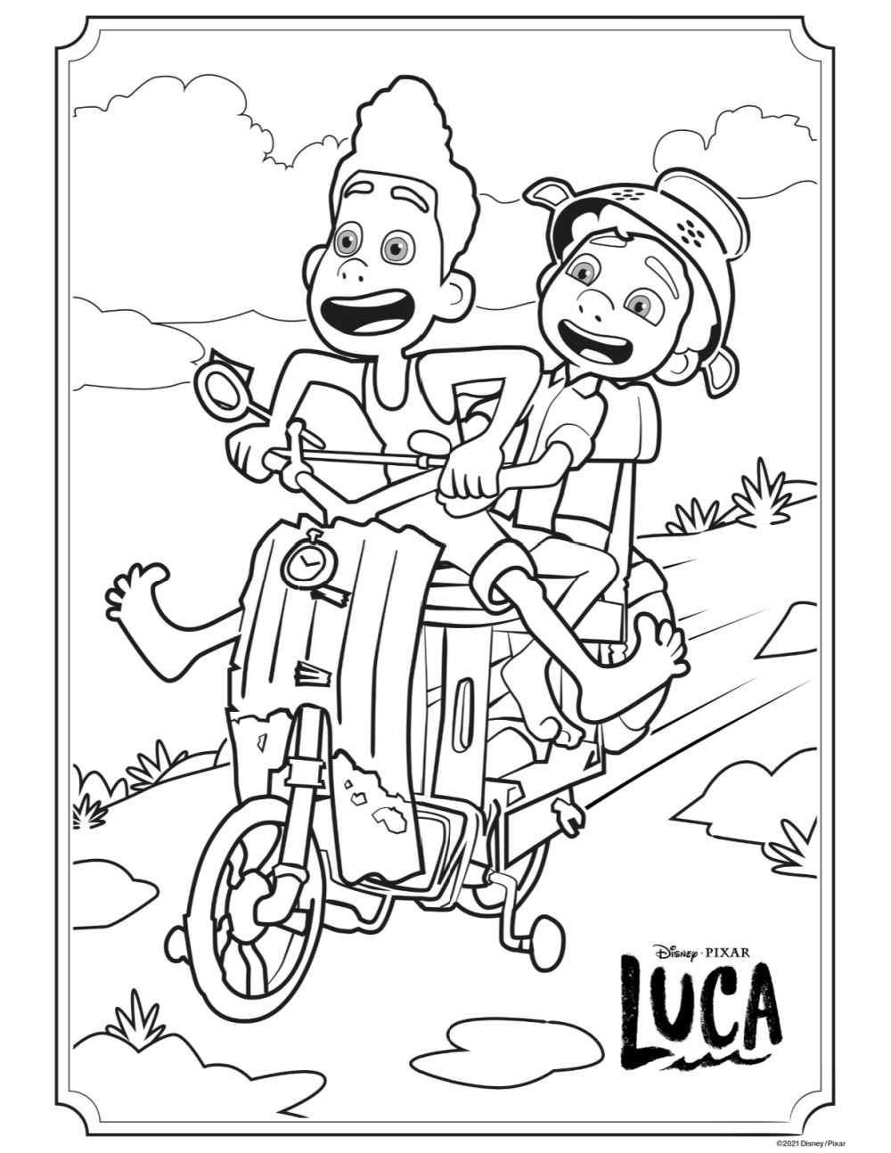 scooter ride coloring page