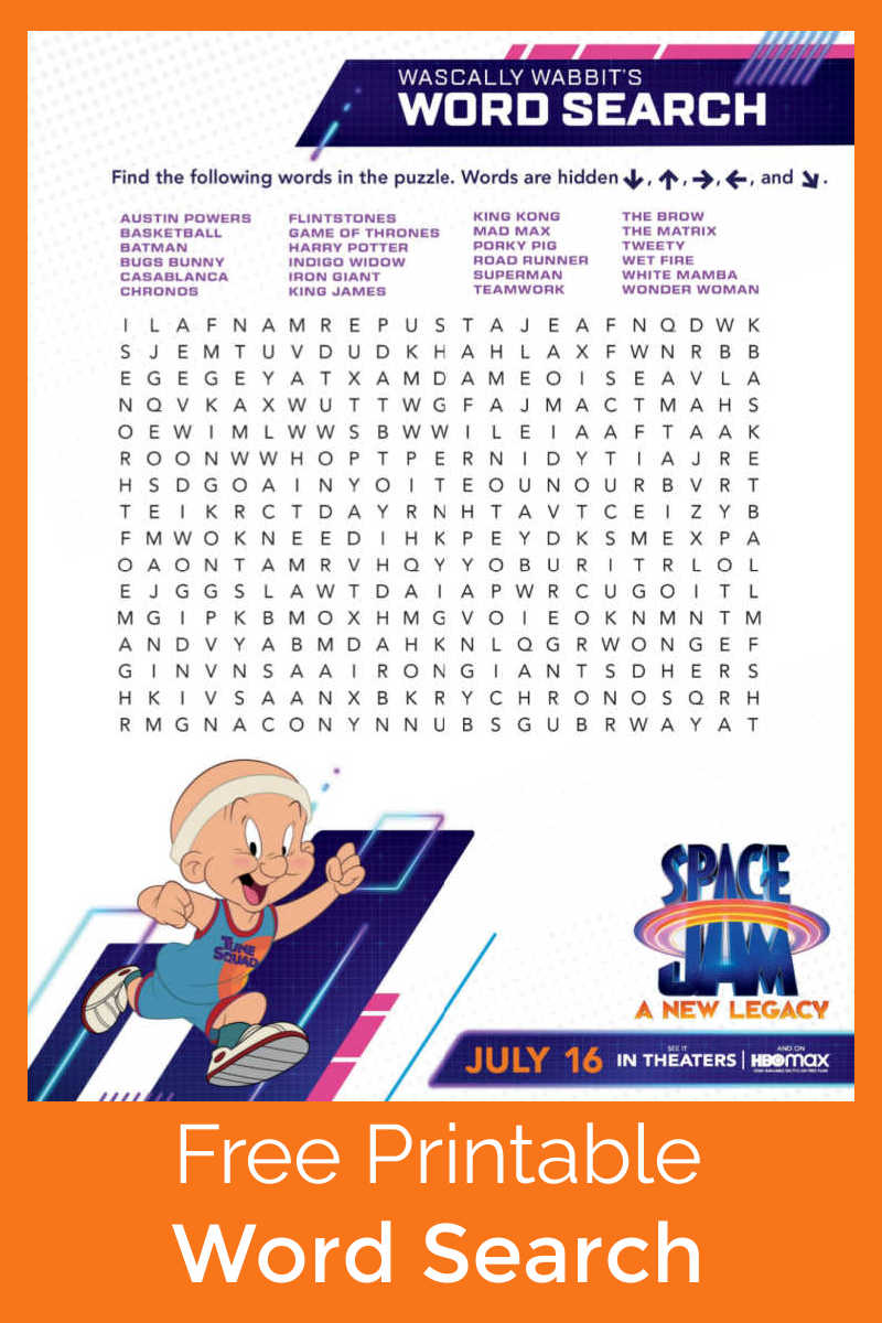 When you are up for a fun movie themed challenge, see if you can find all the words hidden in this free printable Space Jam word search.#ad